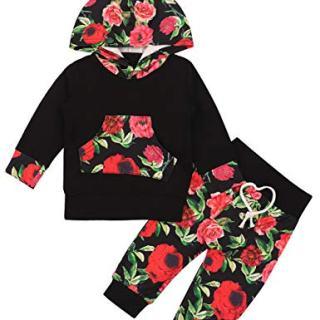 2PCS Baby Girls Clothes Long Sleeve Hoodie with Kangaroo Pocket