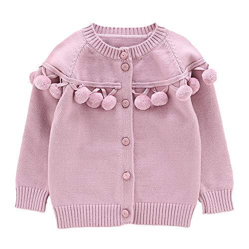 Moonnut Baby Girls Cardigan Sweaters with Pom Pom Cute Knit Sweater