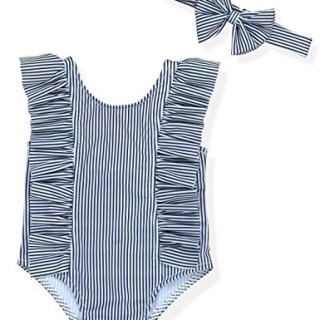 Baby Girl Bikini Striped Beach Swimsuit Ruffles Bathing Suit
