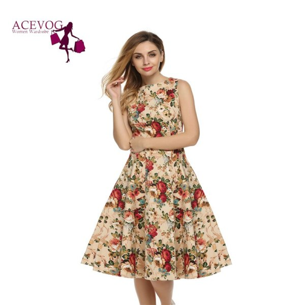 ACEVOG Women Dress Retro Vintage Rockabilly Floral Swing Summer Dresses