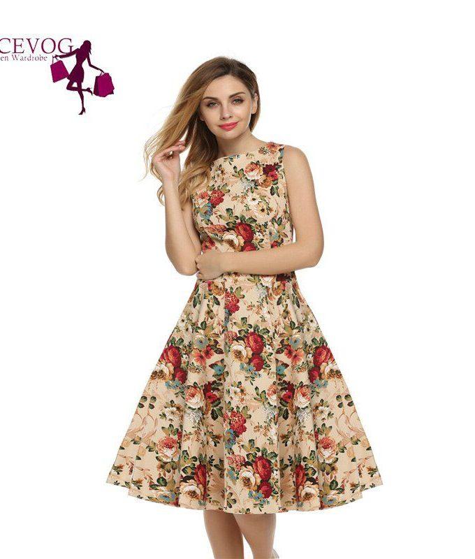 ACEVOG Women Dress Retro Vintage Rockabilly Floral Swing Summer Dresses