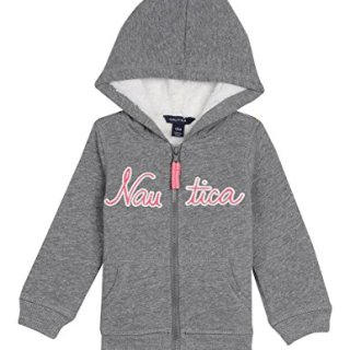 Nautica Baby Girls' Super Soft Fleece Hoody, Medium Grey Heather