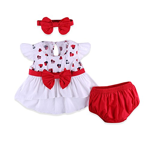 Newborn Baby Girls Clothes Lovely Rompers+Pants Shorts+Bow Headband
