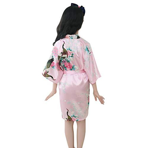Todder Baby Girls' Satin Kimono Peacock Flower Robe