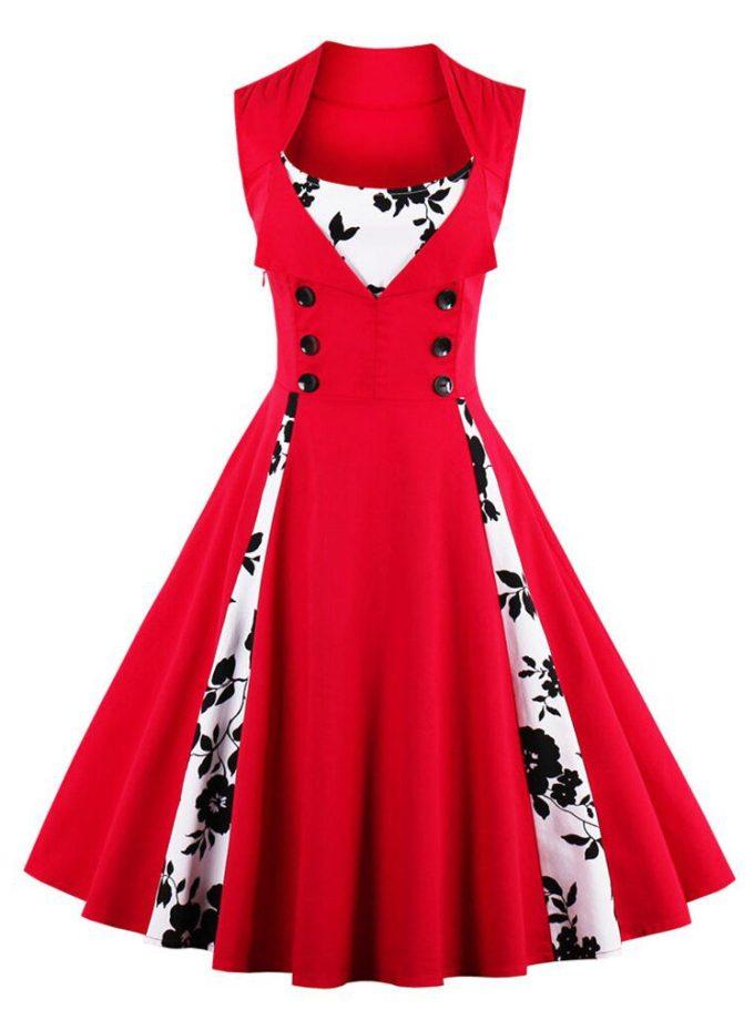 Sexy Vintage Dress Women Red Summer Dress Patchwork Sleeveless