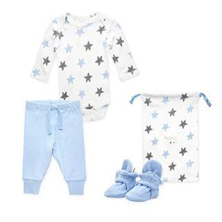 Zutano Baby Booties Gift Set, Stars 3pc, Light Blue