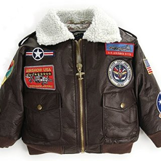 Up and Away Boys' A-2 Bomber Jacket 24 Months Brown