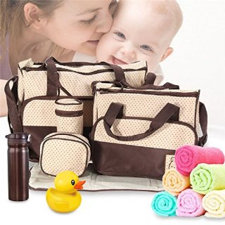 5pcs Fashion Mommy Bag Women Siaper Bag Nappy Bag