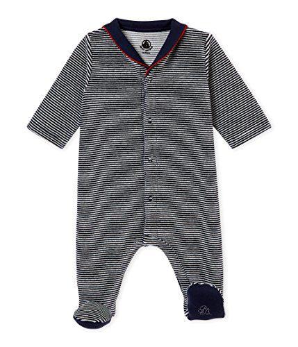 Petit Bateau Baby Boys Velour Striped Footie