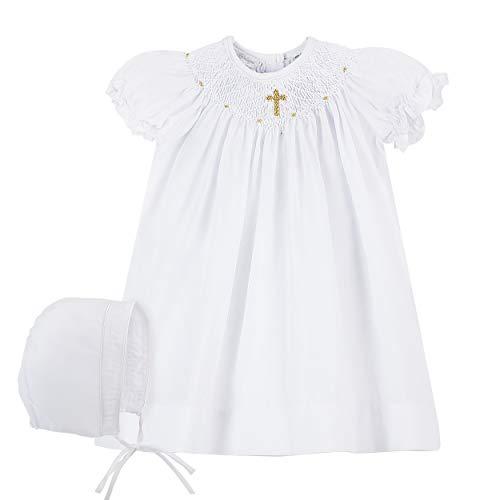 Baby Girls Hand Smocked Christening Baptism Dress