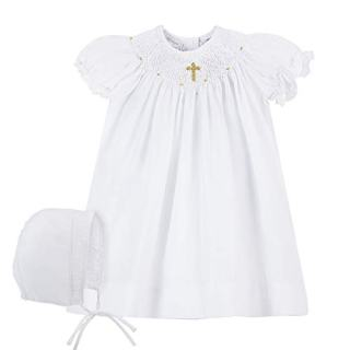 Baby Girls Hand Smocked Christening Baptism Dress