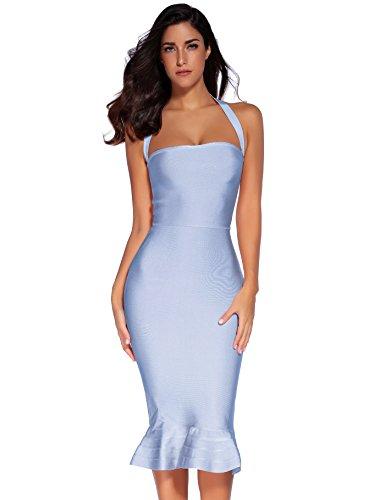 Meilun Womens Rayon Halter Fishtail Bandage Dress
