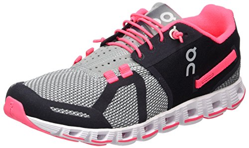 On Women's Running Cloud Sneaker, Grey/Neon Pink
