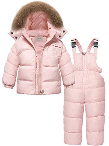 ZOEREA 2 Piece Unisex Kids Girls Snowsuit Hooded Puffer Jacket