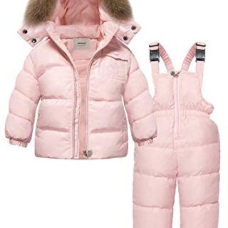 ZOEREA 2 Piece Unisex Kids Girls Snowsuit Hooded Puffer Jacket