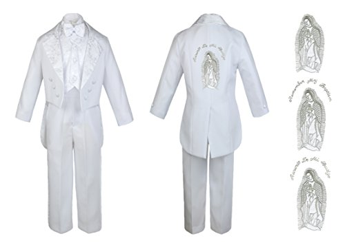 Baby Boy Kid Christening Baptism Church White Tail Suit