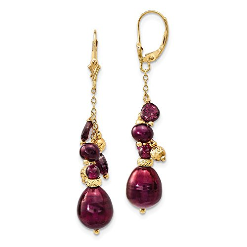 14k Yellow Gold Red Garnet 10mm Cranberry Freshwater Cultured Pearl