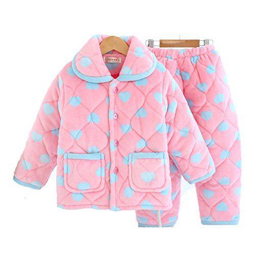 BERTERI Uisex-Kids Thicken Coral Velvet Pullover Pajamas Set