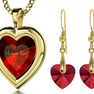 Gold Plated Red Heart Jewelry Set I Love You Necklace