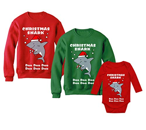 Christmas Cute Baby Shark Mommy Shark Daddy Shark Ugly Sweater Set