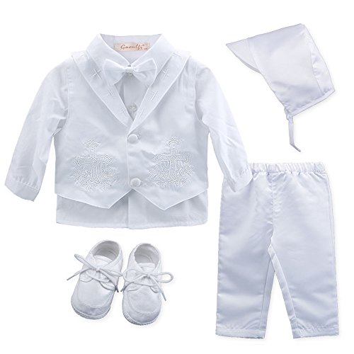 Booulfi Baby Boy's 5 Pcs Set Christening Baptism Outfits