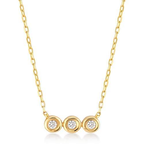14k Yellow Gold 0,03 ct Three Stone Solitaire Diamond Pendant Necklace