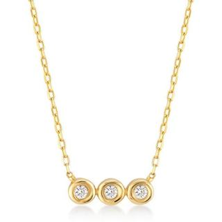 14k Yellow Gold 0,03 ct Three Stone Solitaire Diamond Pendant Necklace