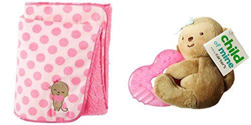 Child of Mine Carter's Newborn Baby Valboa Blanket & Teething Ring Bundle