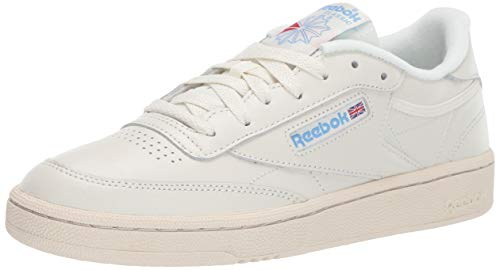 Reebok Women's Club C 85 Sneaker, Chalk/Paper White/Athletic Blue/Excellent red