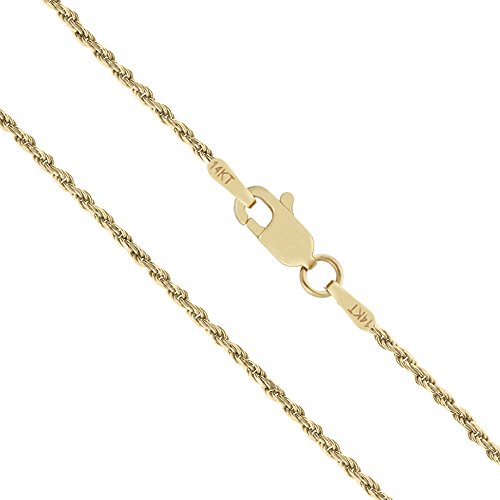 Honolulu Jewelry Company 14K Solid Yellow Gold 1mm Rope Chain Necklace