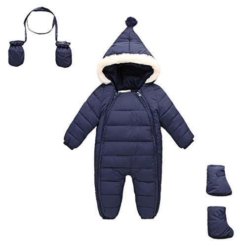 Aivtalk Baby Winter One Piece Snowsuit With Hood Gloves Zipped
