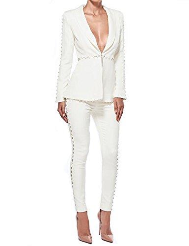 UONBOX Women's Cut Out 2 Pieces Slim Fit Blazer Jacket
