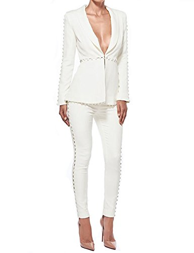 UONBOX Women's Cut Out 2 Pieces Slim Fit Blazer Jacket