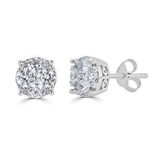 3/4Ct Diamond Stud Earrings Set in Sterling Silver