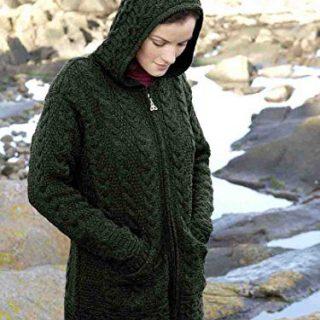 100% Merino Wool Aran Crafts Ladies Zip Zig Zag Jacket Green