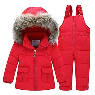 Baby Girls Two Piece Winter Warm Hooded Fur Trim Snowsuit Puffer