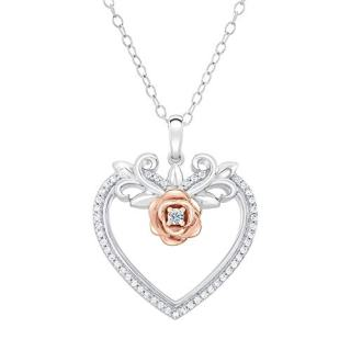 Enchanted Disney Belle Diamond Heart and Rose Pendant
