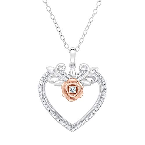 Enchanted Disney Belle Diamond Heart and Rose Pendant