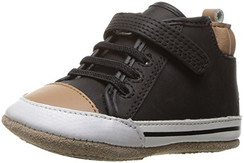 Robeez Boys' Brandon High Top Sneaker, Black