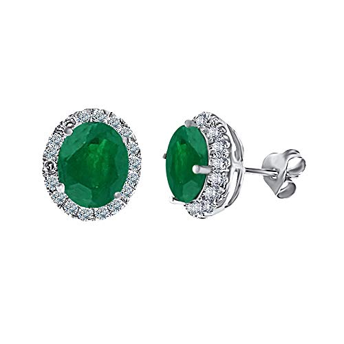 Concept Jewelry 3Cttw Round-Cut Green Emerald Stud Earrings For Women