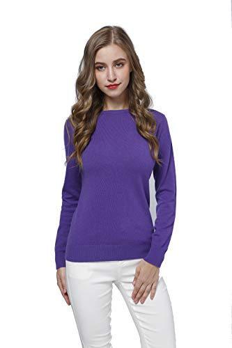 Acmewear Women's 100% Pure Cashmere Long Sleeve Crew Neck Sweater
