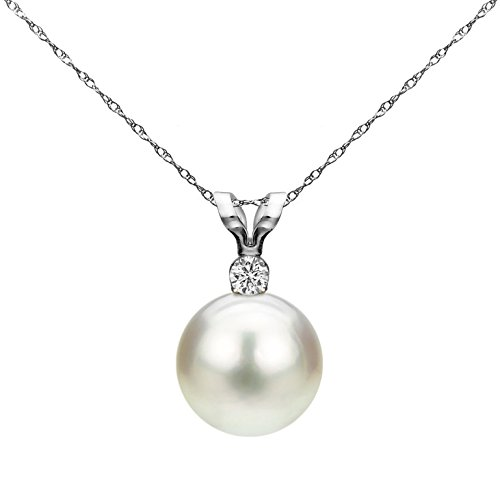 14K Gold Chain Freshwater Cultured Pearl Pendant Necklace Diamond Jewelry
