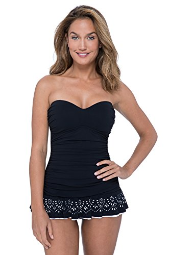 Profile by Gottex Women's Laser Cut Bandeau Swimdress One Piece Swimsuit