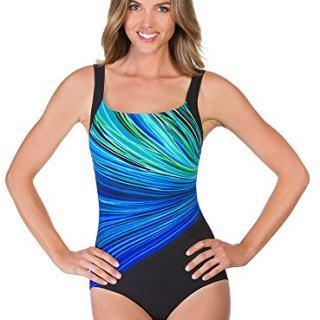 Reebok Women's Swimwear Firewater Bust Minimizer Scoop Neckline One Piece