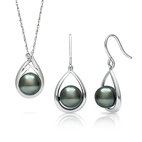 Tahitian Black Pearl Diamond Pendant and Drop Dangle Earring Set