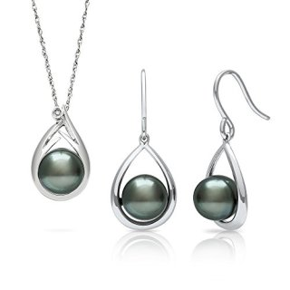 Tahitian Black Pearl Diamond Pendant and Drop Dangle Earring Set