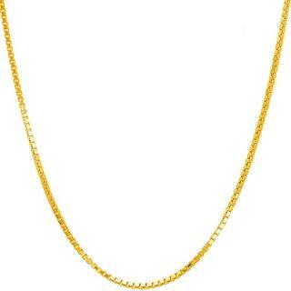 14K Solid Yellow Gold 1.2MM Italian Diamond Cut Box Chain Necklace