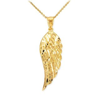 Religious Jewelry by FDJ Textured 14k Yellow Gold Angel Wing