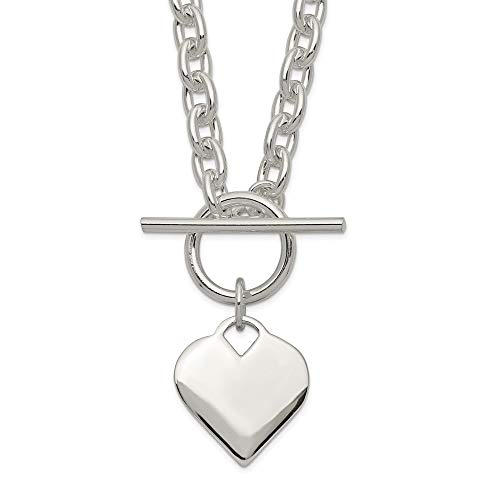 Sterling Silver Engraveable Heart Toggle Chain Necklace Pendant