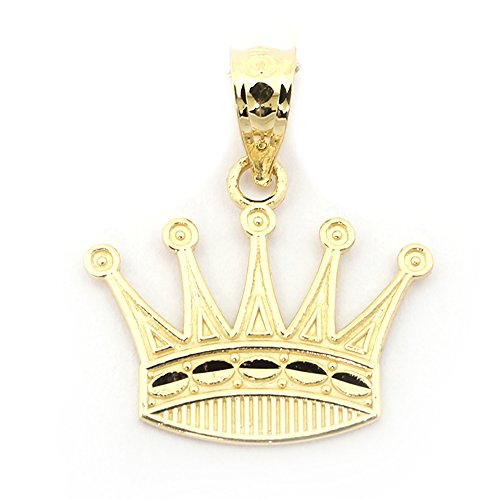 Beauniq 14k Yellow Gold Diamond Cut Crown Pendant